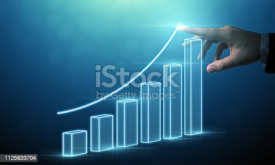 istock Business development to success and growing growth concept, Businessman pointing arrow graph corporate future growth plan 1125633704