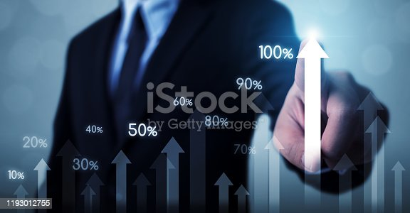 905948482istockphoto Business development to success and growing growth concept. Businessman pointing arrow graph corporate future growth plan and increase percentage 1193012755