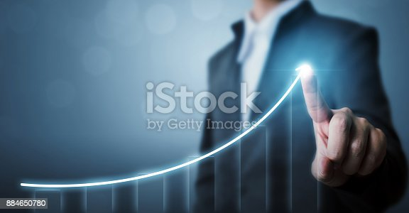 istock Business development to success and growing growth concept, Businessman pointing arrow graph corporate future growth plan 884650780