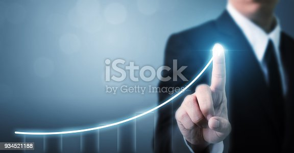 istock Business development to success and growing growth concept, Businessman pointing arrow graph corporate future growth plan 934521188