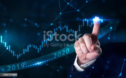 istock Business development to success and growing growth year 2019 to 2020 concept. Businessman pointing arrow graph corporate future growth plan 1205701893
