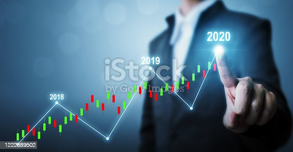 1051659174 istock photo Business development to success and growing growth year 2020 concept, Businessman pointing line dot graph corporate future growth plan 1222889502