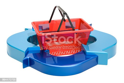 istock Business diagram from arrows with shopping basket, 3D rendering 994470700