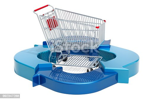 istock Business diagram from arrows with shopping cart 992347288