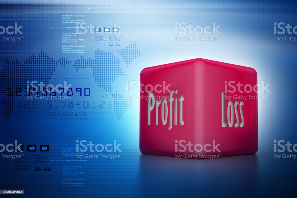 Business dice showing profit and loss in color background stock photo