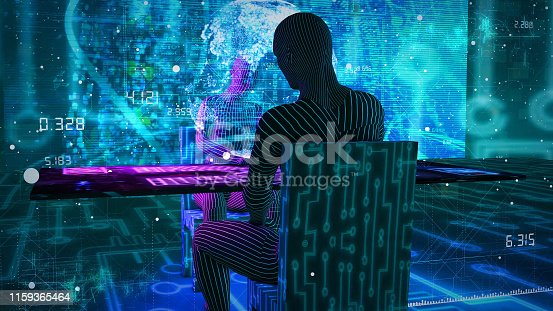861122794 istock photo Business digital people using PC and   GUI graphical user interface  information communication technology concept.  paperless office.  IoT Internet of Things 1159365464