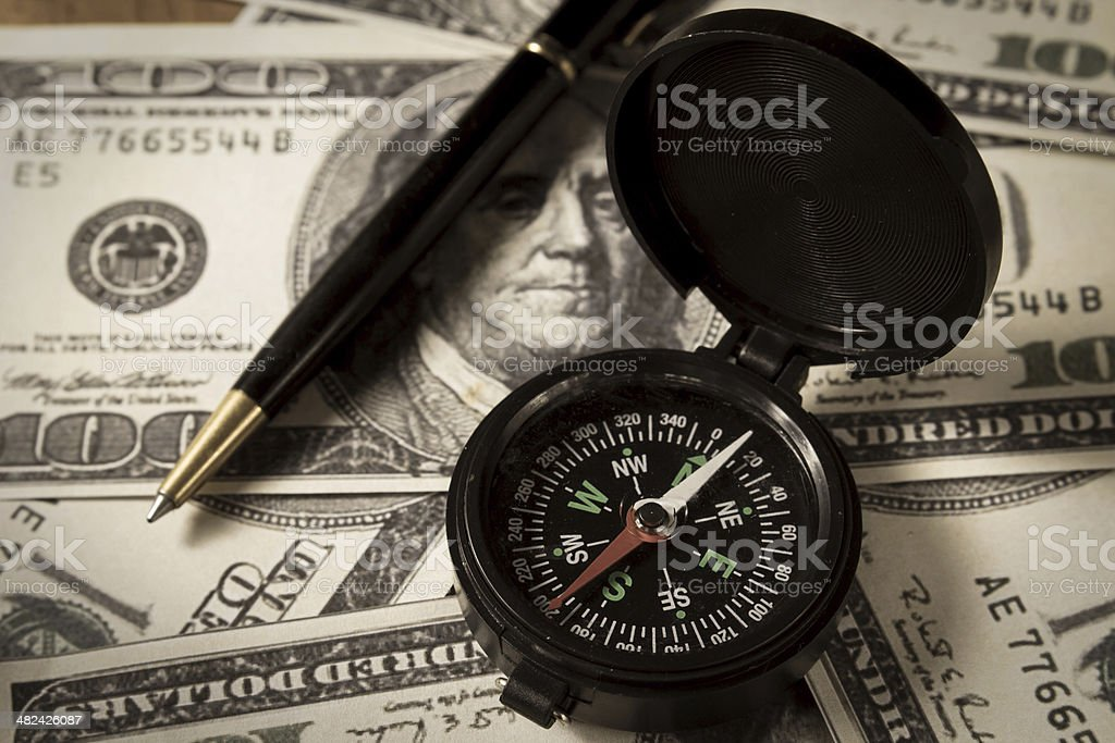 Business direction for money. stock photo