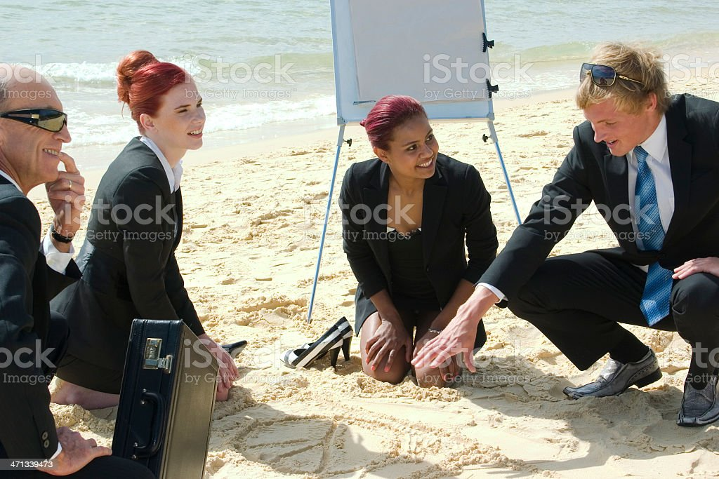 Business Discussion on the Beach stock photo