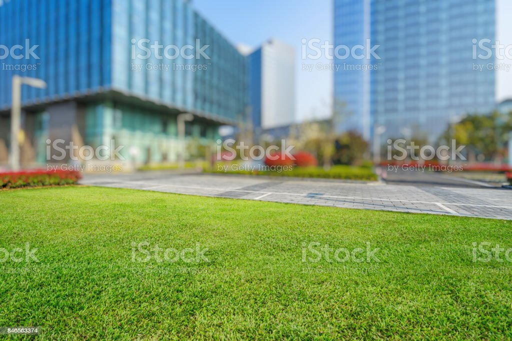 Business district and green stock photo