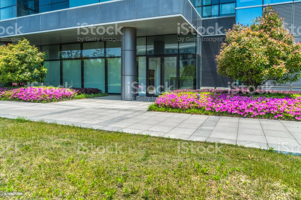 Business district and green royalty-free stock photo