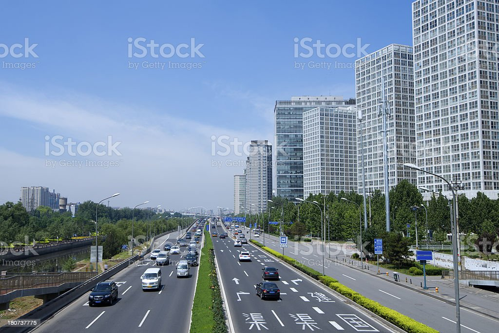 Business district and transportation royalty-free stock photo