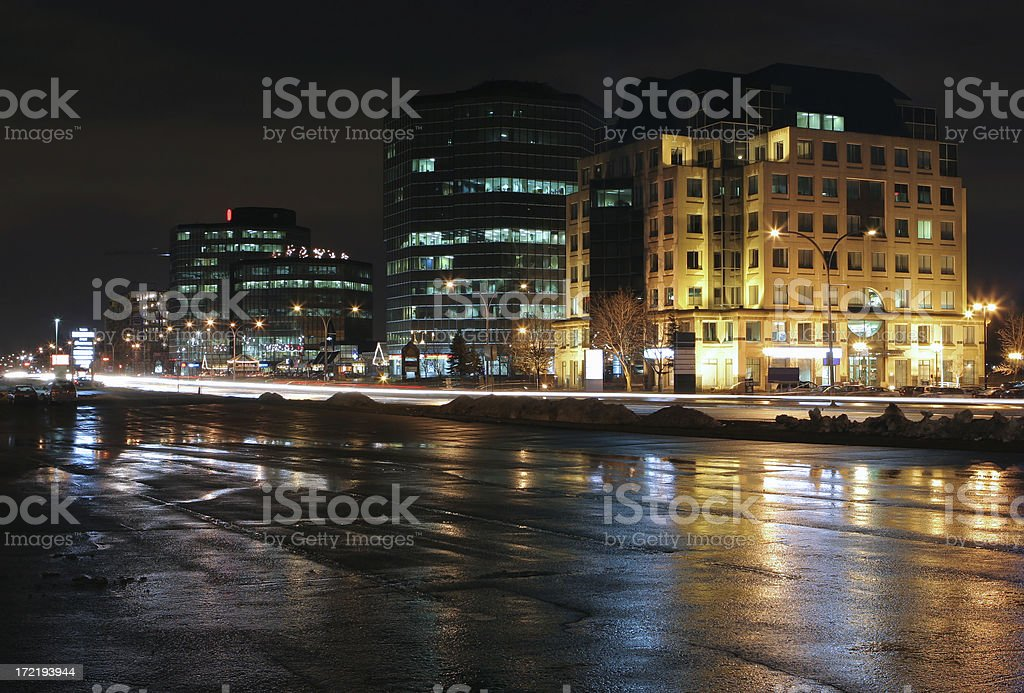 Business District at Night stock photo