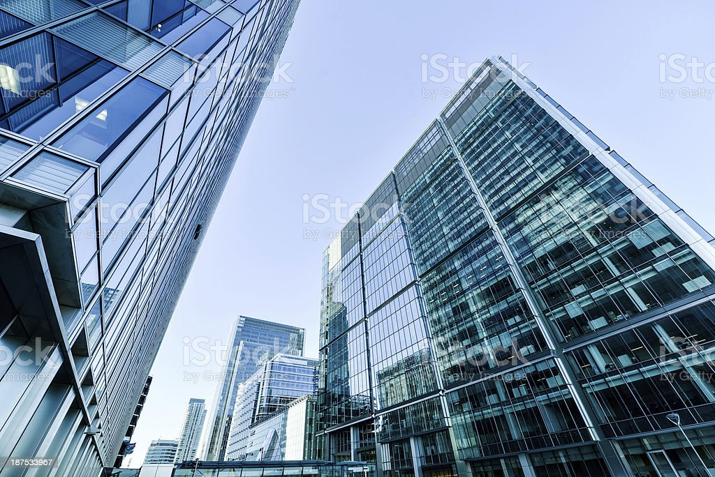 A business district in a large city stock photo