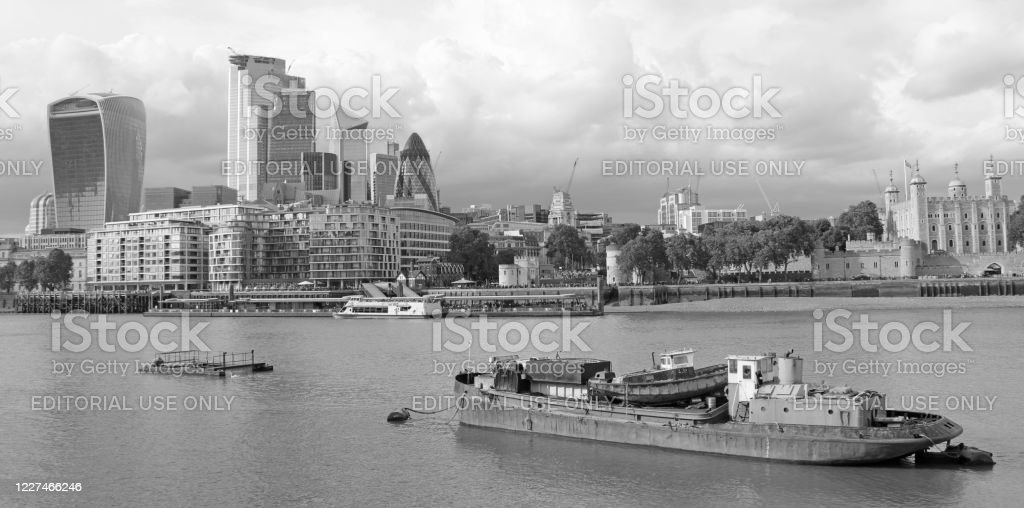 Business District in London Business District with skyscraperes in London, United Kingdom. Architecture Stock Photo