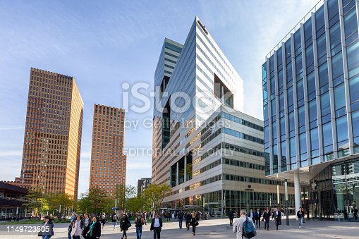 Amsterdam South, The Netherlands - May 14, 2019: The main financial, economic and judicial center in Amsterdam, commonly known as the 'Zuidas' on a sunny day.