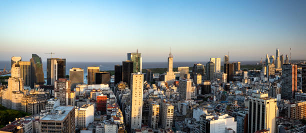 Business district of Buenos Aires city at dusk stock photo