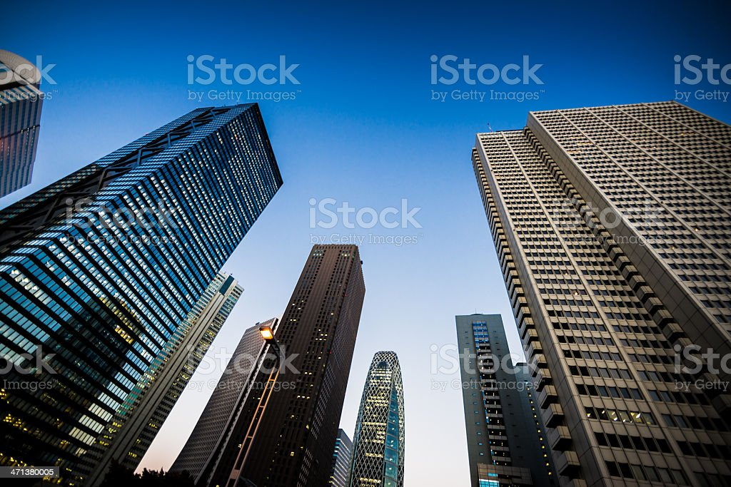 Business District Shinjuku Skyscrapers by Night royalty-free stock photo