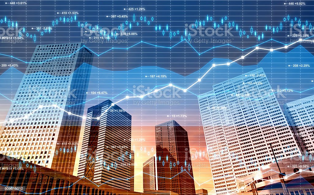 Business district: stock market and finance data on city background stock photo