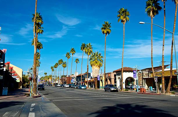 Business district street scene, Palm Springs California, USA stock photo