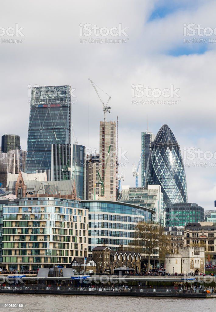 Business district with famous skyscrapers and landmarks at golden hour, London, UK stock photo