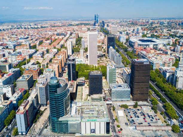Business districts of AZCA and CTBA in Madrid, Spain stock photo