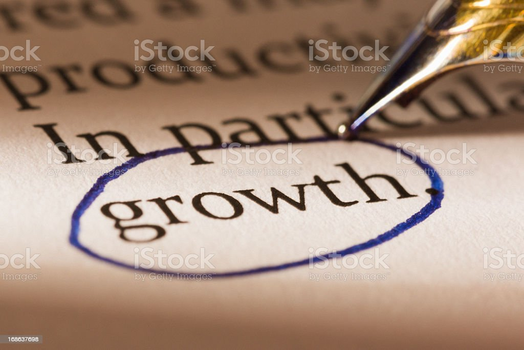 Business document has 'growth' circled for special emphasis royalty-free stock photo
