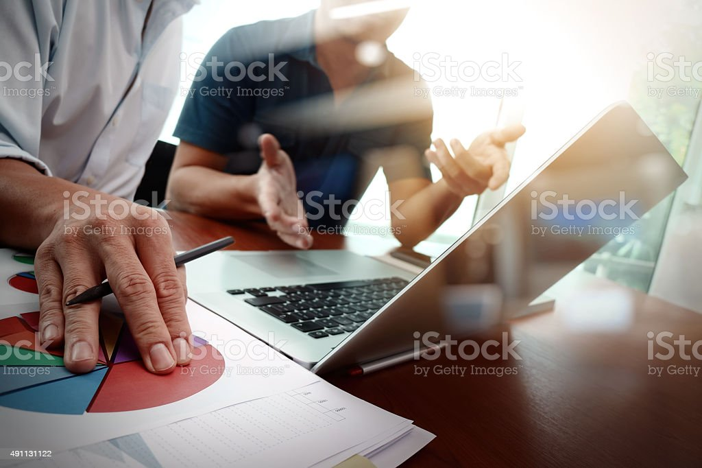 business documents on office table with smart phone stock photo