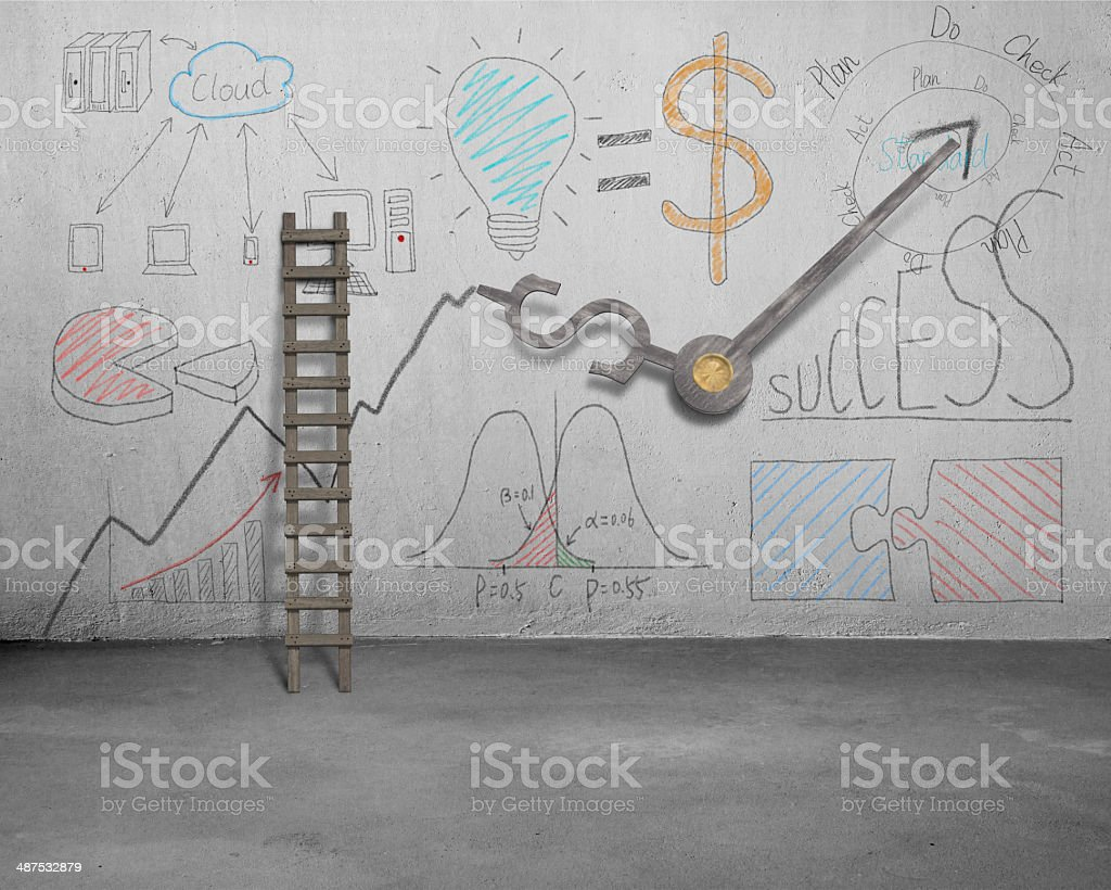 Business doodles and clock hands on wall with ladder stock photo