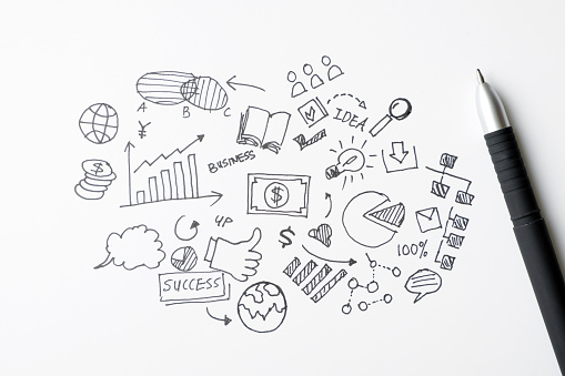 istock Business doodles icons set - hand drawn 1063514836