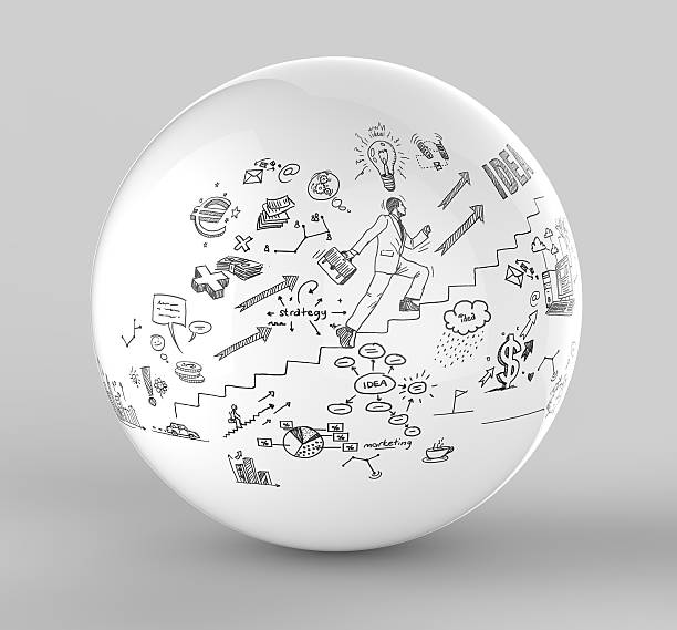 Business doodles on sphere stock photo