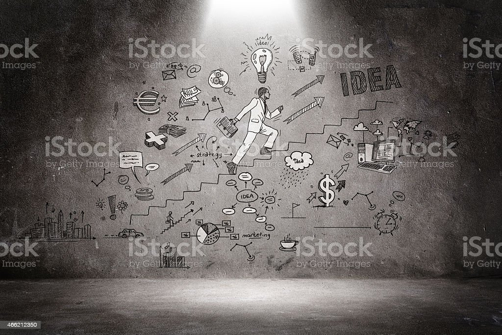 Business doodles stock photo