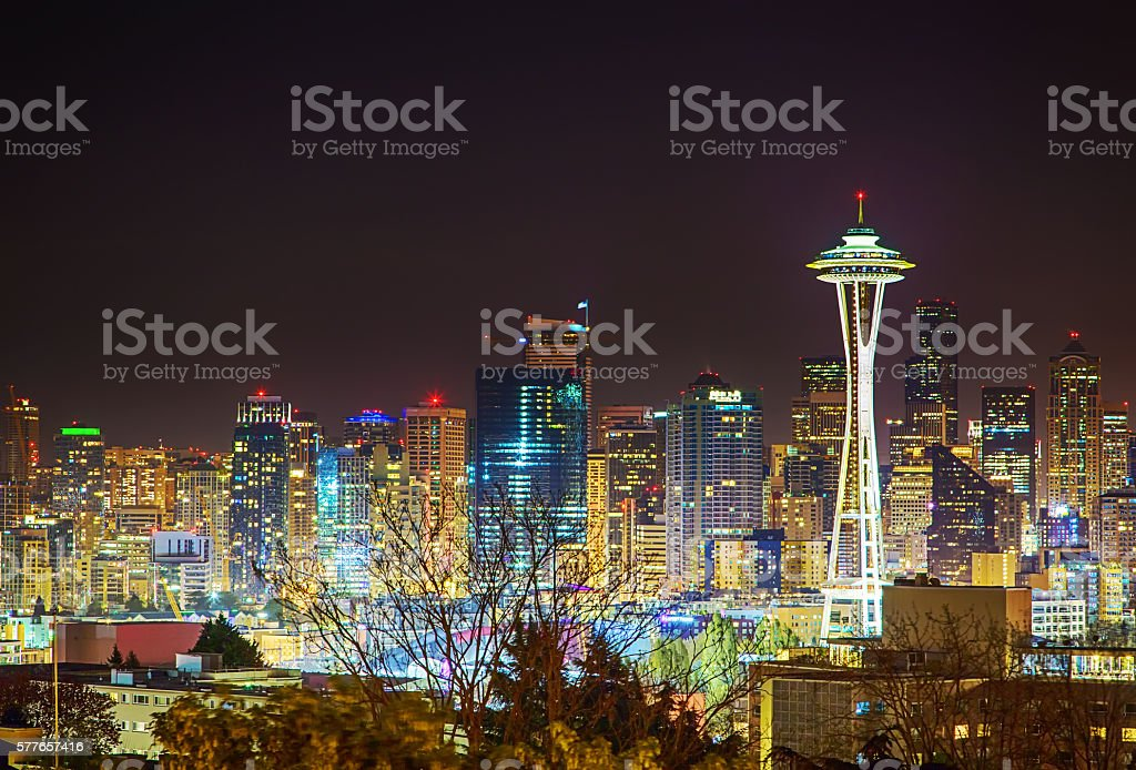 Business Downtown Seattle cityscape at night stock photo