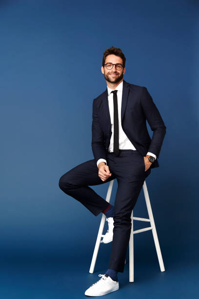 Business dude on stool stock photo