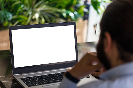 Business Entrepreneur using laptop with an empty white screen for insert content