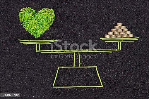 A measuring scale measuring a green heart and a pile of golden coins / Business ethics / Moral behavior in business / Corporate social responsibility / Weighing nature and economy