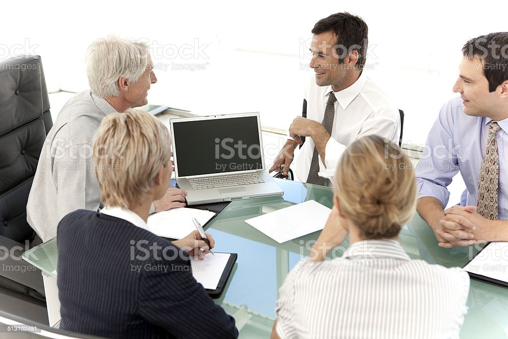Business Executive Officers at a meeting stock photo