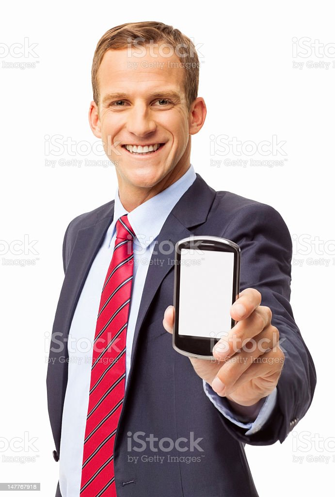 Business Executive Presenting Smart Phone - Isolated stock photo