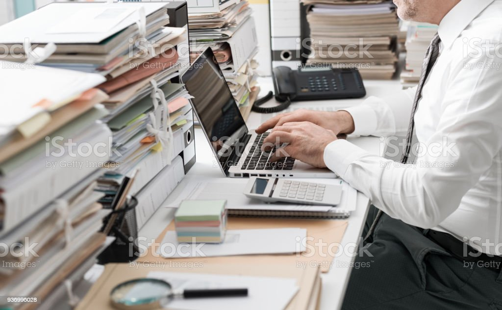 Business executive working in the office stock photo