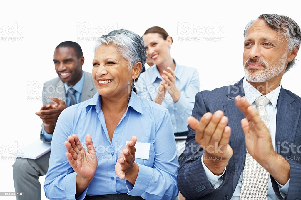 Business executives applauding royalty-free stock photo