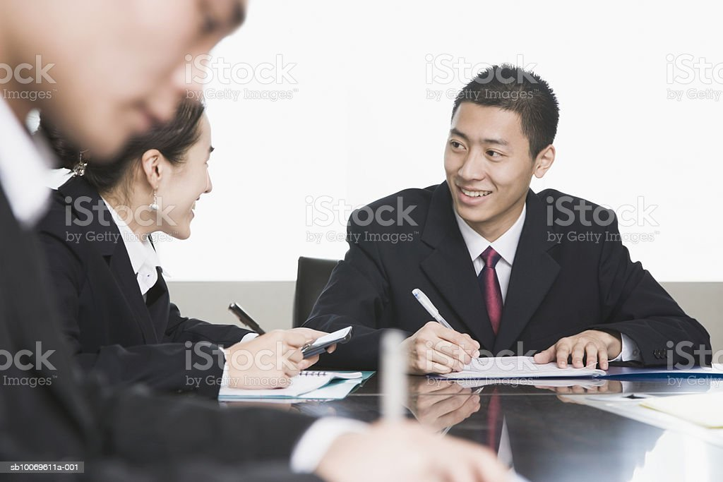 Business executives at conference table royalty-free stock photo