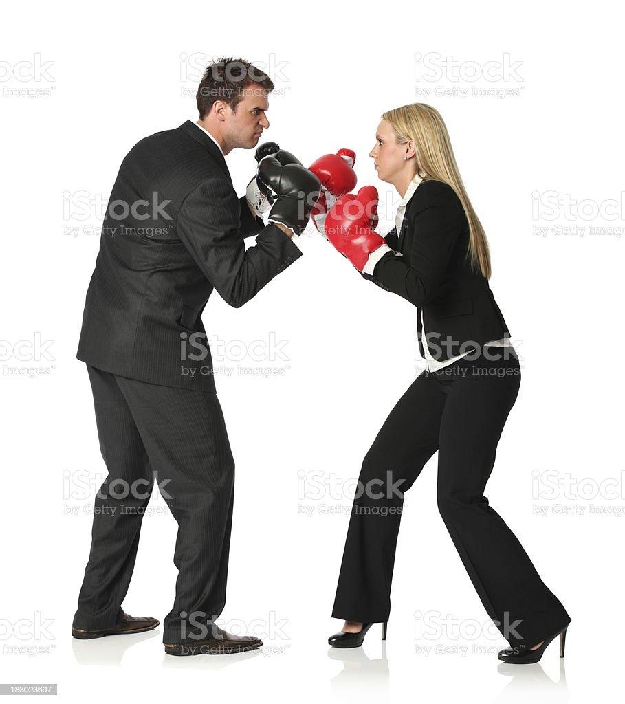 Business executives boxing stock photo