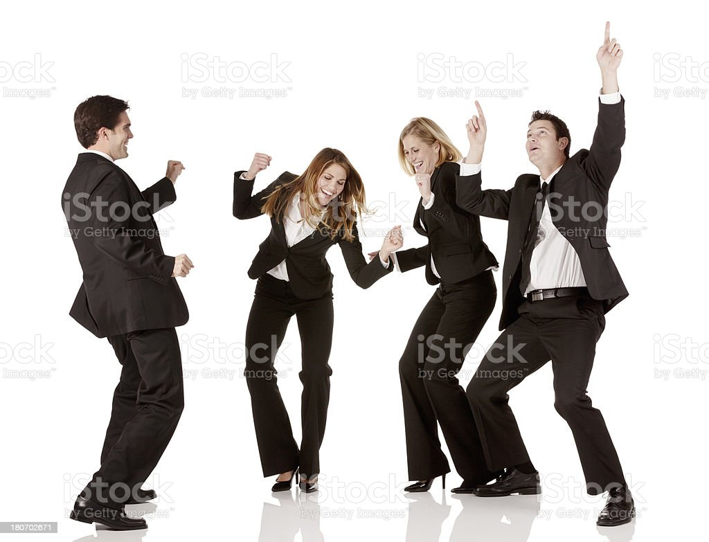 Business executives dancing together royalty-free stock photo