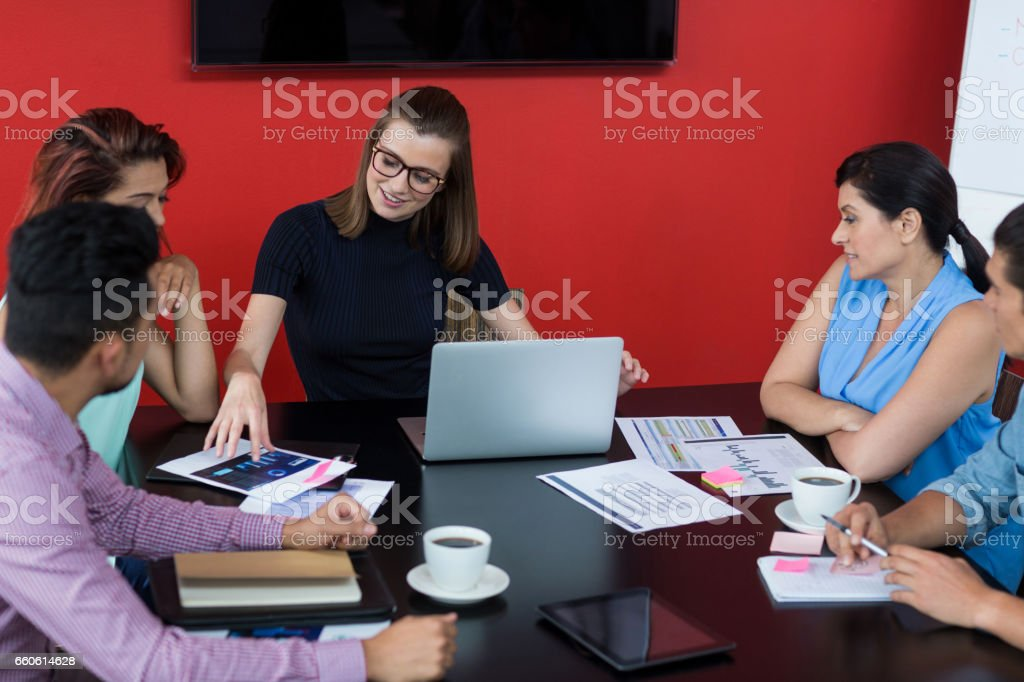 Business executives discussing during meeting royalty-free stock photo