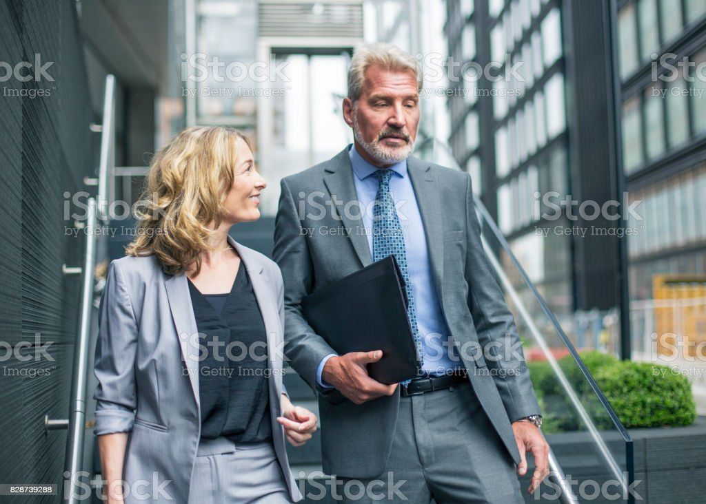 Business executives going for lunch stock photo