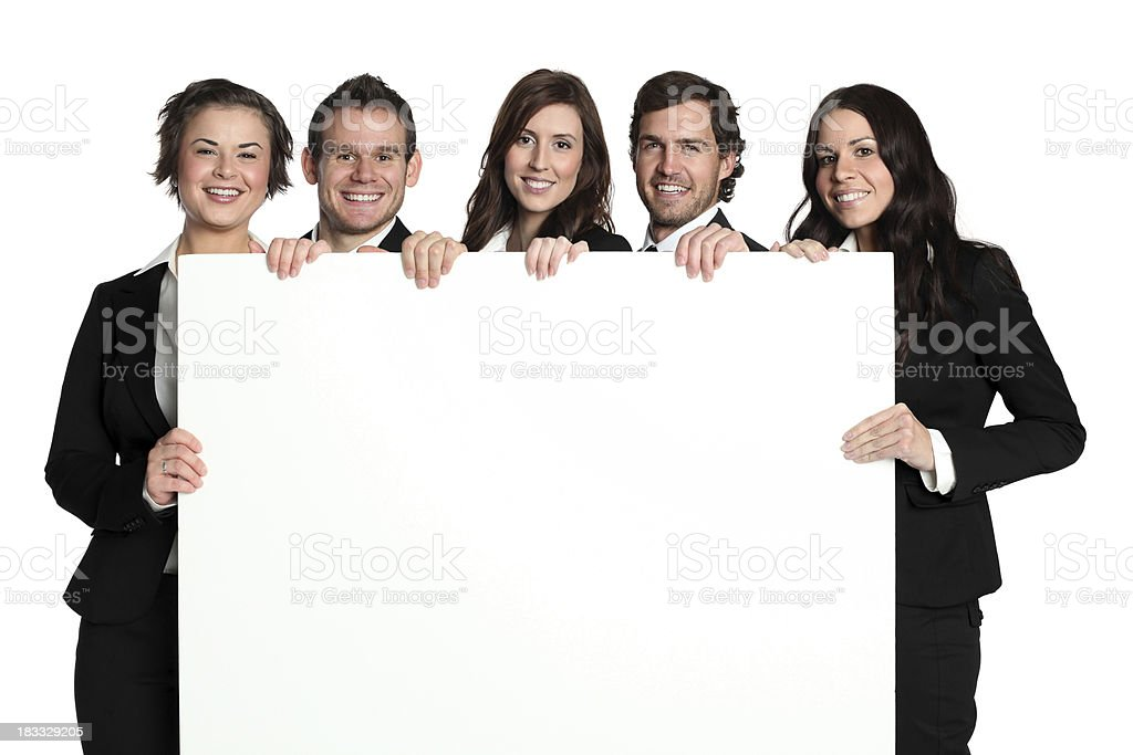 Business executives holding a placard royalty-free stock photo