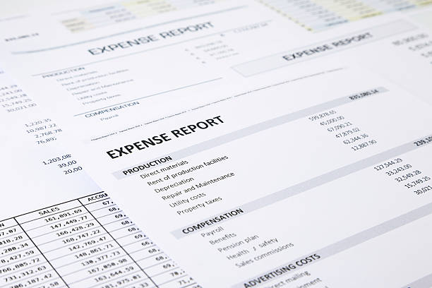 Business expense report Summary of business expense report focus on EXPENSE REPORT word expense stock pictures, royalty-free photos & images