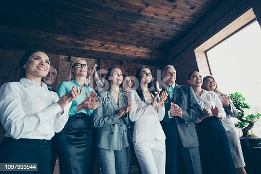 istock Business family concept. Photo of ecstatic elegant in classic suit jacket blazer confident crowd clapping hands stand look at speaker boss chief ceo chairman in loft interior room 1097933544