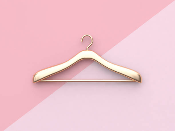 business fashion concept gold cloth hanger minimal pink background 3d rendering - część garderoby zdjęcia i obrazy z banku zdjęć