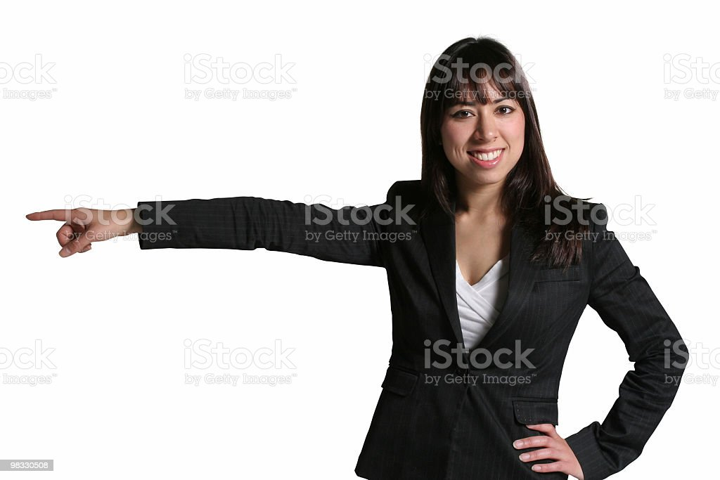 Business female points to the left. royalty-free stock photo