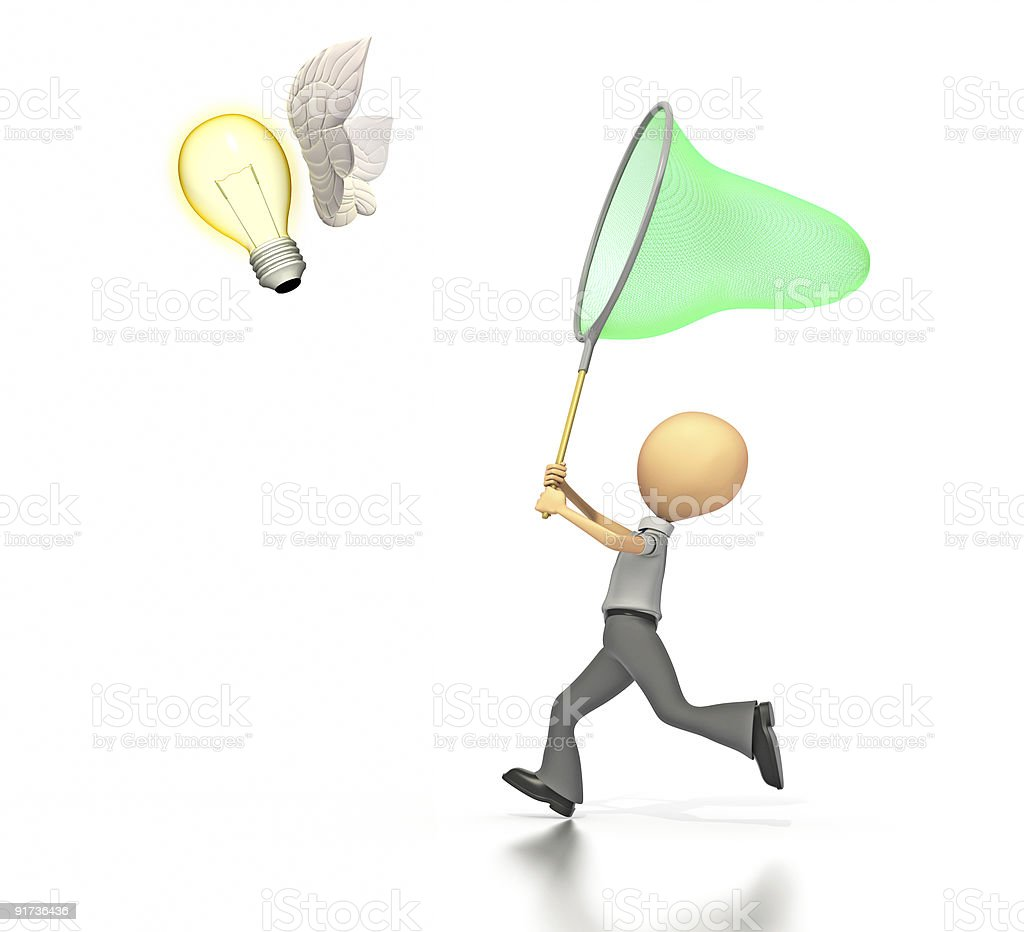 Business figure chasing a butterfly shaped light bulb royalty-free stock photo